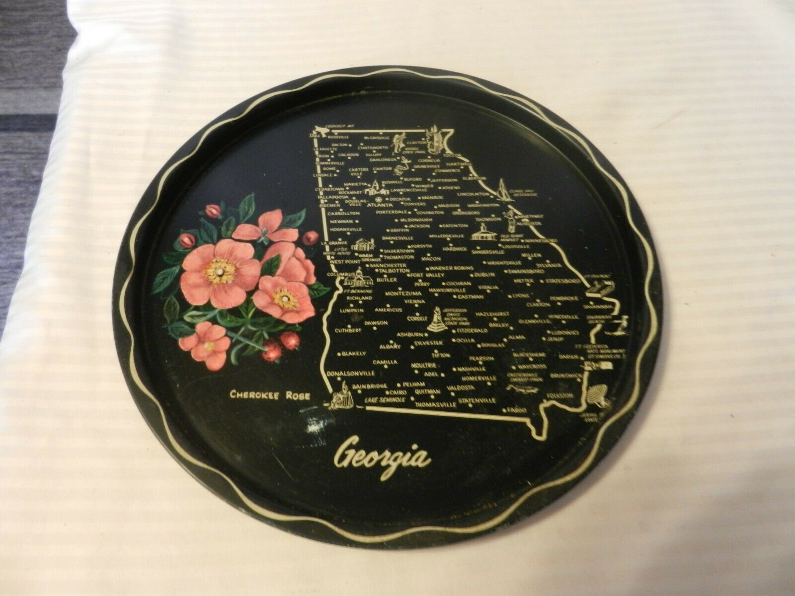 Primary image for Vintage Georgia State Map Black Metal Drink Serving Tray Platter Collectible
