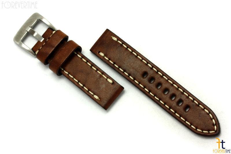 26mm Braun Glattleder Uhrenarmband Gurt mit / Stichen Passt Luminox