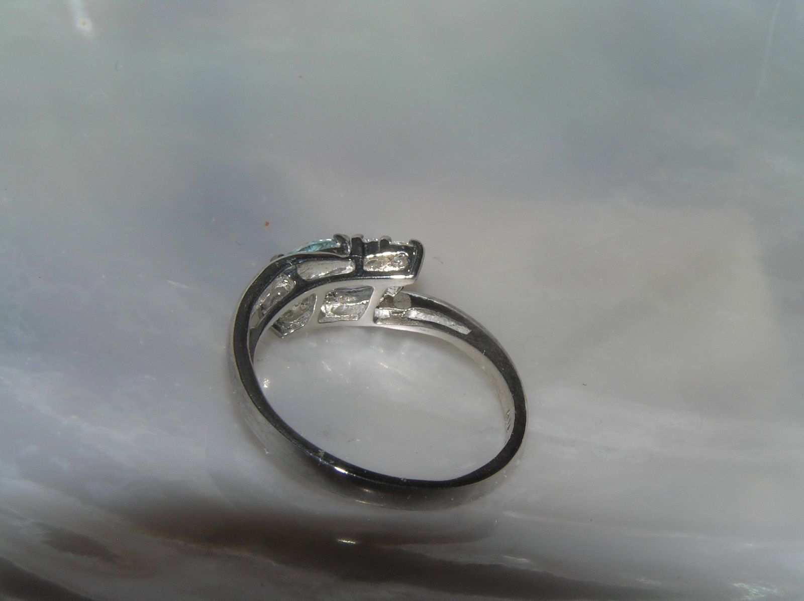 Estate Dainty 925 Marked Silver w Two Light Blue Clear Rhinestone Accents Ring