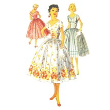 Vtg 50s Simplicity 1159 Junior Fit Flared Dress Short Sleeve V-Neck Midi... - $26.95