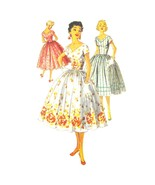 1950s Vintage Simplicity Sewing Pattern 1159 Junior Fit Flared Dress V-N... - $26.95