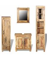 vidaXL Solid Mango Wood Vanity Cabinet Set Mirror Storage Bathroom Furni... - $585.99
