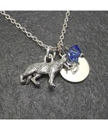 Customized German Shepherd Dog Necklace with Birthstone Crystal from Swa... - $24.99