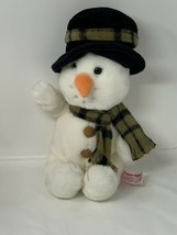 Russ Berrie Plush Snowflake Snowman Beanbag Stuffed Animal Toy Scarf Top... - $12.86