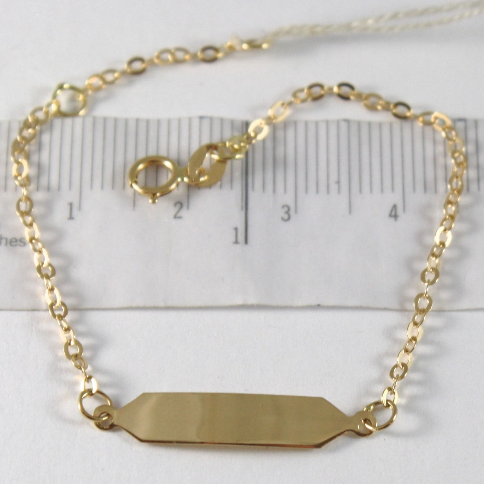 BRACELET YELLOW GOLD 750 18K, CIRCLES ROLO' AND PLATE FOR INCISION, 15 CM