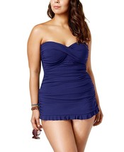 Profile By Gottex Plus Size Tummy-control Ruched Ruffled 24w Swim Dress - $83.16