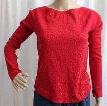 Juniors Aeropostale Stretch Red Sequined Crew Neck Shirt - Size Small - $14.99