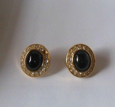 Vintage Givenchy Oval Black Cabochon & Rhinestone Pierced Earrings - $40.10