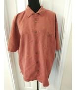 Joe Marlin Size XL Button Shirt Hawaiian Pink Orange Embellished Trees  - $6.93