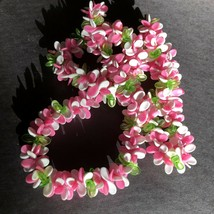 VTG Neon Pink Green White Propeller Old Plastic Beads Lei Necklace - $24.60