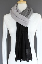"Black Dark Grey Light Gray extra large scarf neck wrap shawl 80"" long 20... - $31.56 CAD"