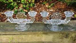 "Pair Of Fostoria American Crystal 4.5"" T X 8.75"" W Double Flat Foot Candlesticks - $28.00"
