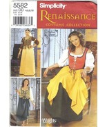 Simplicity Pattern 5582 Renaissance Gown Dress Costume Misses Szs 4 6 8 ... - $12.99