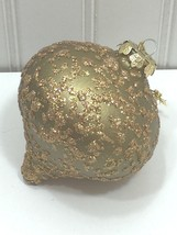 Vintage Gold Glitter Christmas Ornament Large Morning Taiwan 24331 - $11.69