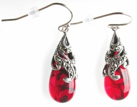 New Amazon Collection Sterling Silver 925 Marcasite Red Glass Teardrop Earrings image 2