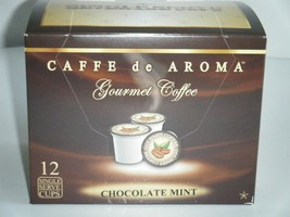 Caffe de Aroma Flavored Chocolate Mint Coffee 12 Single Serve K-Cups Fre... - $9.99