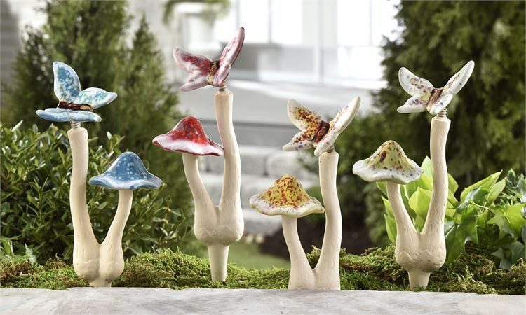 "Set of 4 - 9.8"" Ceramic Double Mushroom Butterfly Garden Stakes Single-Prong"