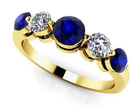 14K Yellow Gold Fn 0.40Ct Round Cut Sapphire & Sim Diamond Anniversary B... - $115.99