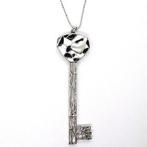 925 STERLING SILVER NECKLACE, BIG WORKED KEY CATHEDRAL BLACK, WHITE ENAMEL HEART image 2
