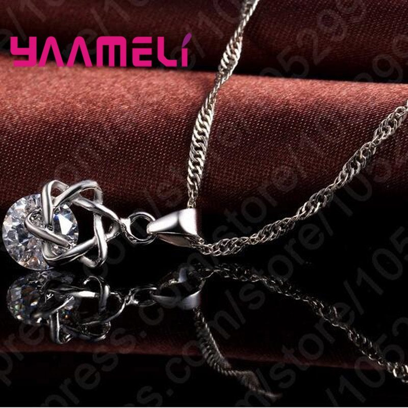 Primary image for Big Discount Top Quality 925 Sterling Silver Shining CZ Fashionable Necklace Ear
