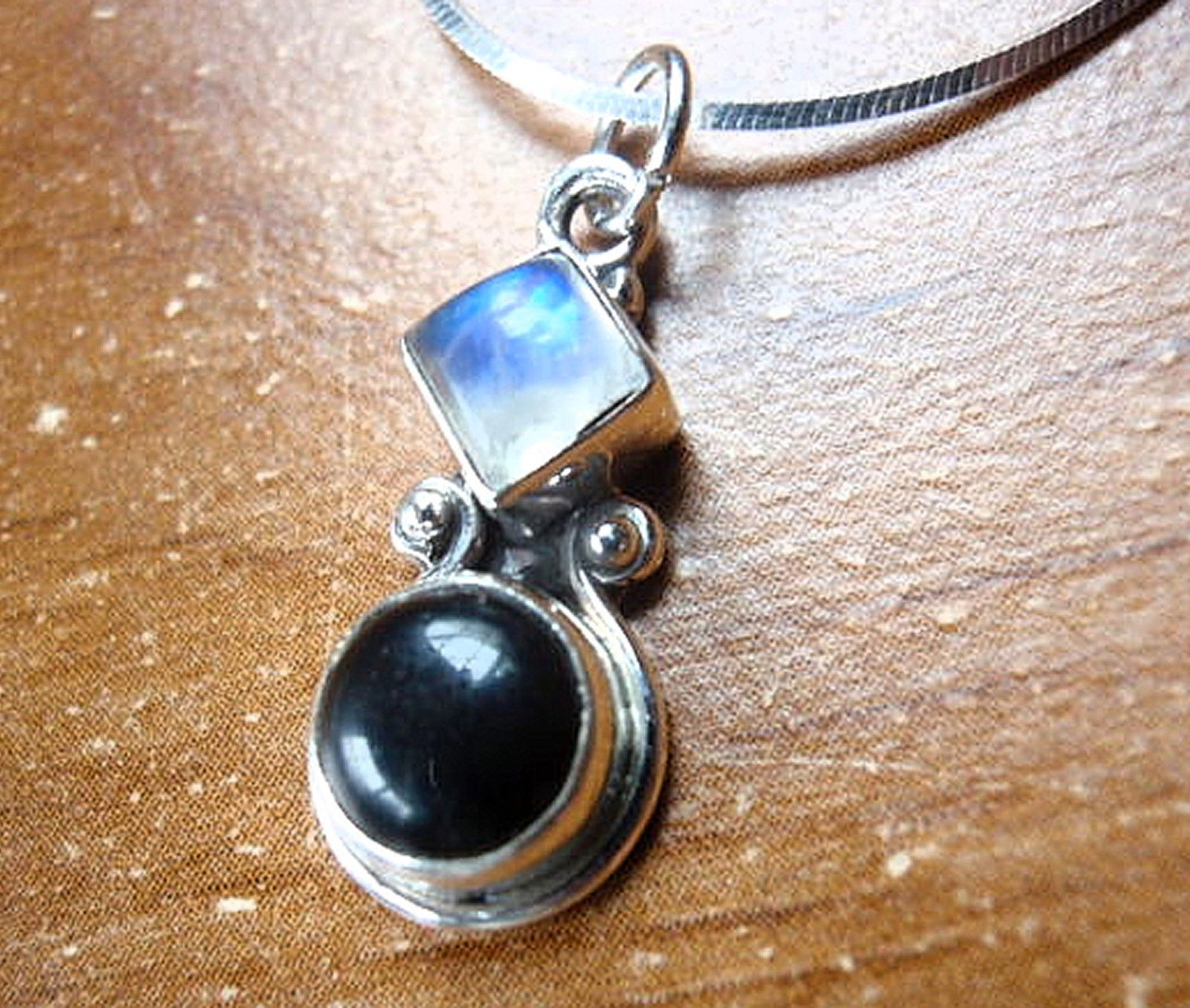 Primary image for Small Black Onyx Moonstone 925 Sterling Silver Necklace Corona Sun Jewelry