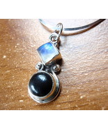 Small Black Onyx Moonstone 925 Sterling Silver Necklace Corona Sun Jewelry - $18.80