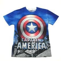 MARVEL Captain America Dry Fit Shirt Size Medium M Short Sleeve All Over... - $18.83