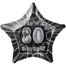 Black Glitz Adult's 80th Birthday Foil Balloon 20 Inch 50cm - $1.89