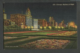 Linen Postcard Chicago Michigan Ave Skyline at Night Curt Teich - $12.50