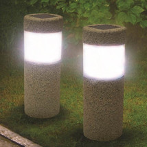 Solar Power Stone Pillar White LED Lights Garden Lawn Courtyard Decorati... - $23.82