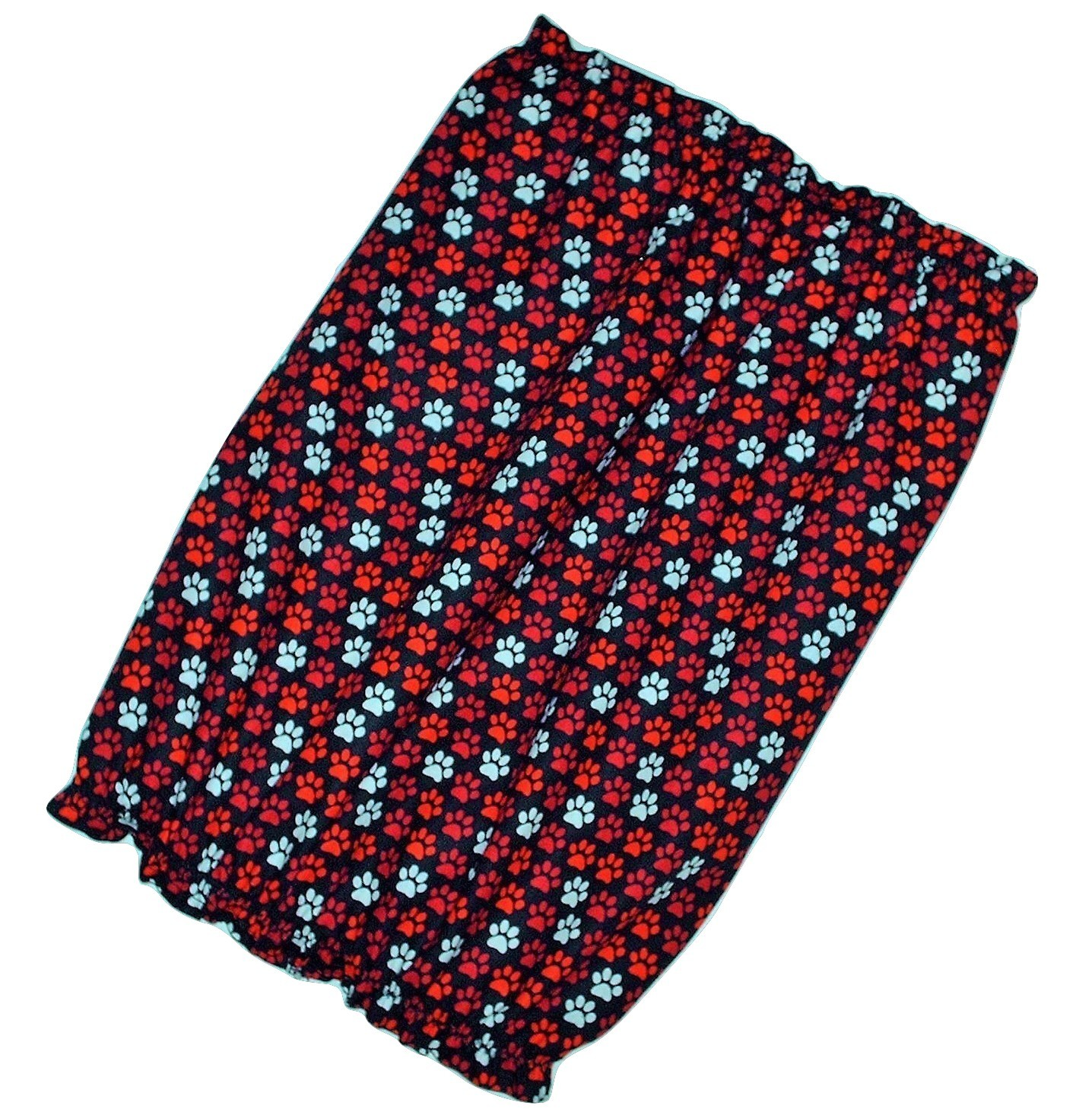 Dog Snood Black with Red White Paw Prints Cotton by Howlin Hounds Puppy SHORT