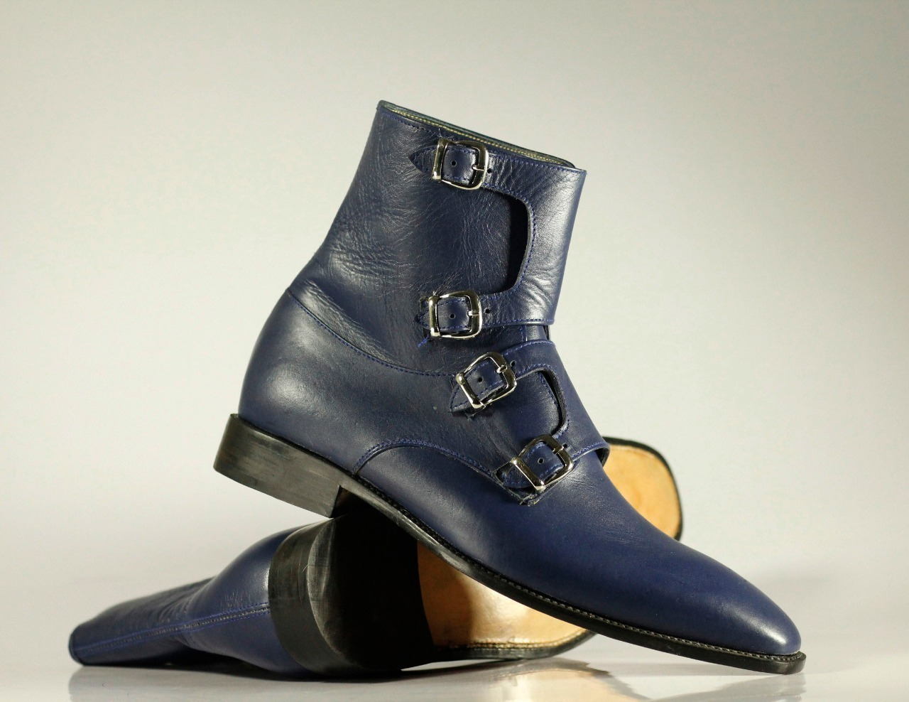 Handmade Men's Blue Leather High Ankle Monkstrap Boots