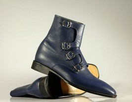 Handmade Men's Blue Leather High Ankle Monkstrap Boots image 1