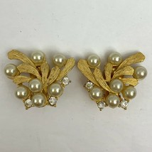 Vintage Faux Pearl Satin Brushed Gold Tone Rhinestone Clip On Earrings E... - $11.84