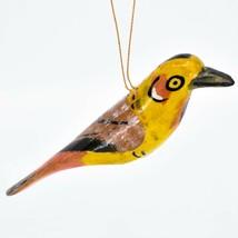 Hand Carved Painted Jacaranda Wood Yellow Red Bird Holiday Ornament Made Kenya