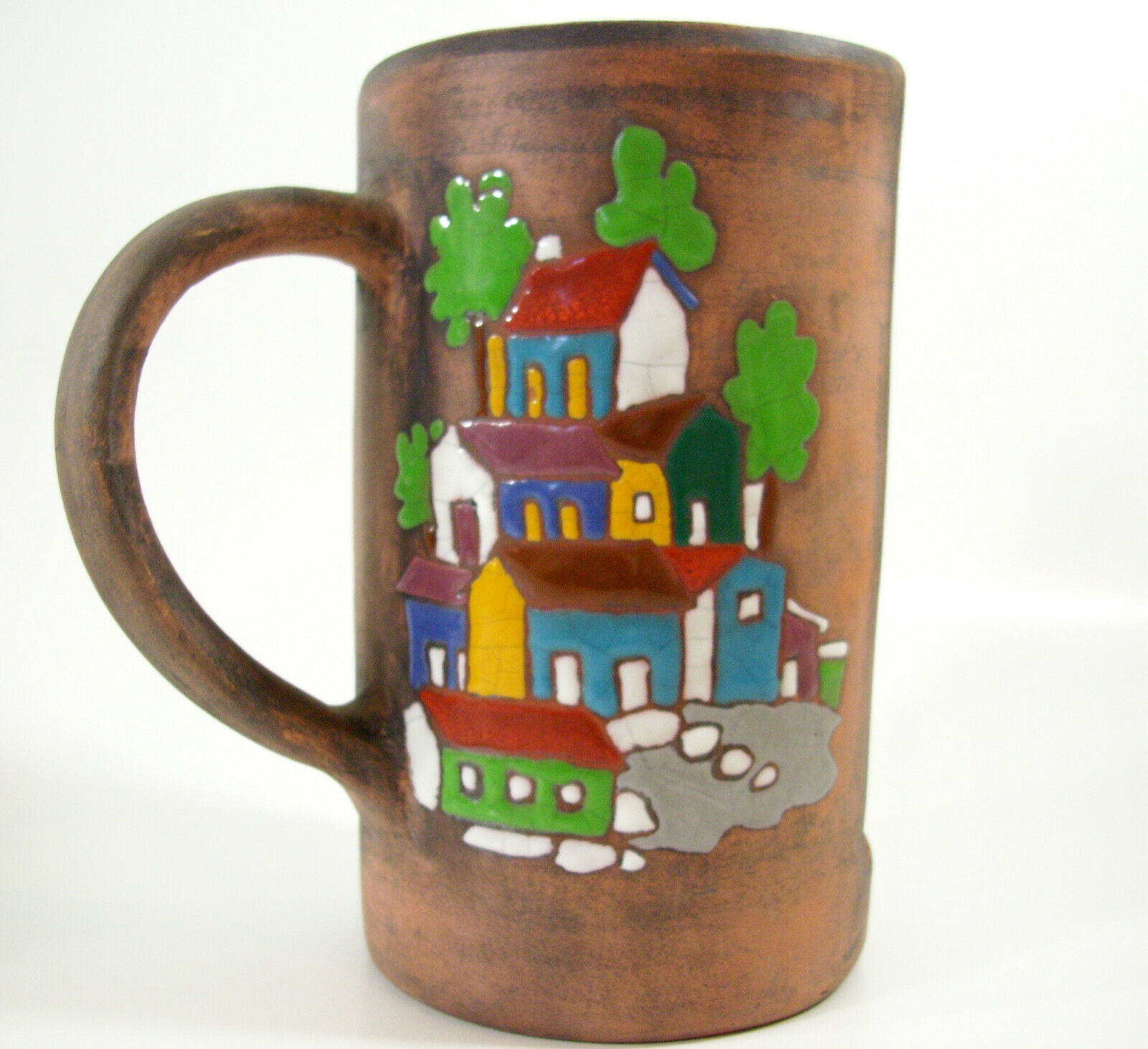 Primary image for Art Pottery Cut Away Mug Village Scene Candle Holder Glazed Terracotta Hillside
