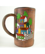 Art Pottery Cut Away Mug Village Scene Candle Holder Glazed Terracotta H... - $9.85