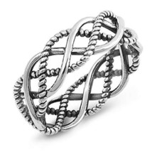 Unisex 925 Sterling Silver Open Woven Braid Wedding Band Ring 5-12 - $12.86+