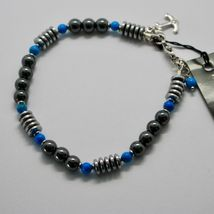 SILVER 925 BRACELET WITH TURQUOISE HEMATITE BLE-2 MADE IN ITALY BY MASCHIA image 5