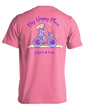 Puppie Love Rescue Dog Men Women Short Sleeve Graphic T-Shirt, Happy Biking Pup image 1