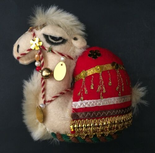 Ethnic Camel Plush Stuffed Animal Beaded Embellished Freestanding Home Decor
