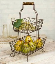 Farmhouse TWO TIERED GRAYSON CADDY Country Chicken Wire Fruit Basket Sto... - $48.99
