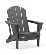GRAY Patio Adirondack Chair Folding Outdoor Poly Seat Lounge Garden Deck... - $169.95