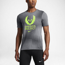 Nike Dry Oregon Project Running T Shirt Grey Volt 863190 091 Us Mens Sz 2XL - $44.54