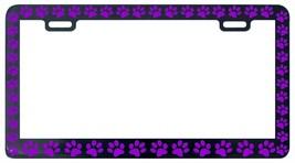 BLACK PAW PRINTS CRITTER DOG PET CAT PURPLE License Plate Frame - £4.31 GBP