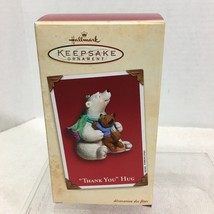 2002 Thank You Hug Polar Bear Hallmark Christmas Tree Ornament MIB Price Tag H2 - $18.32