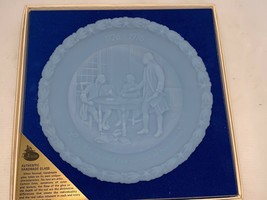"""Vintage Fenton Authentic Handmade Glass 8"""" Blue Plate """"In Congress"""" #2 I... - $10.00"""