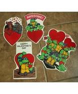 Set of 4 Mirage Studios 1990 Ninja Turtles Valentines  Die cut Flocked 2... - $20.00