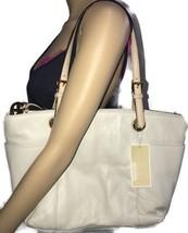 Michael Kors Womens Tote Bag Pebbled Leather Jet Set Top Zip Vanilla - $177.64