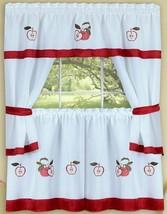 "Embellished Cottage Kitchen Curtains Tailored Set, GALA APPLES (58""x36""), Achim - $19.79"